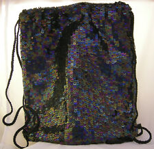 Sequined BACKPACK/PURSE - Black Multi Tones ~ Made in India