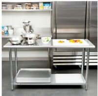 "Commercial Work Prep Table Undershelf Adjustable 24"" x 60 Indoor Stainless Steel"
