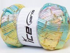 Lot of 4 x 100gr Skeins Ice Yarns SAMOS RIBBON (90% MicroFiber) Yarn Pink Yel...