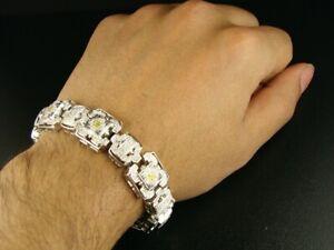 "8Ct Multi Color Sim Diamond Men's Cuban Link Bracelet 925 Silver Free Pendant 8"""