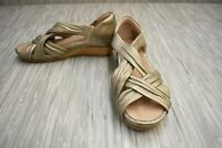 Earth Ficus Gemini Wedge Sandals, Women's Size 6.5W, Washed Gold NEW