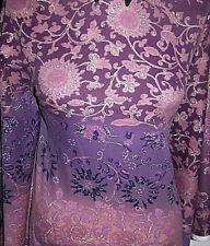 Hermosa Lavanda y Plateado Floral doubleknit Lycra Tela Elástica 0.9m 18