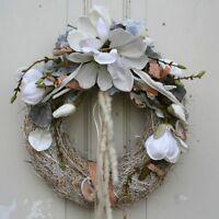 FRI-Collection Türkranz Kranz Wandkranz Magnolia-Blüten weiß Shabby Chic 38 cm