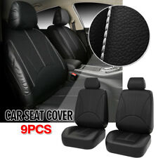 US Deluxe PU leather Seats Car Seat Cover Full Set Front + Rear Cushion Black