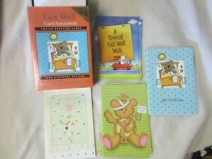 Get Well Card Assortment-12 Cards & Envelopes-Four Different Designs