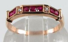 LUSH 9CT ROSE GOLD ART DECO INS INDIAN RUBY & DIAMOND ETERNITY RING FREE RESIZE
