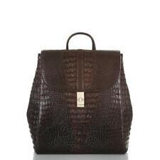 Brahmin Sadie Cocoa Sparrow Croc Embossed Leather Backpack
