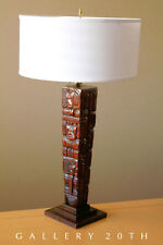 AZTEC STYLED SOLID ROSEWOOD LAMP! TOTEM HANDCARVED MID CENTURY ATOMIC 50s VTG