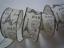 5yd Eiffel Tower Ivory Burlap Wired Ribbon Paris Baby Bridal Shower Decor Gift