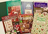LOT 8 Christmas Cross Stitch Charts Books HC/PB Santa Stockings Ornaments X71