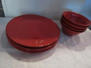 Rachael Ray 8 pc. Set in Garden Sage Red 4 Soup/Salad Bowls 4 Dinner Plates