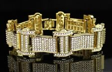 "Men's Iced Out Bracelet 14k Gold Plated Thick Link Cz Stones Hip Hop 8"" Inch"