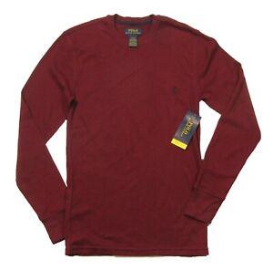 Polo Ralph Lauren Men's Burgundy Soft & Light Waffle Thermal Crew-Neck T-Shirt