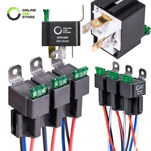 6 Pack 4-Pin 12V 30A Automotive Bosch Style Fused Relay w/ Interlocking Socket