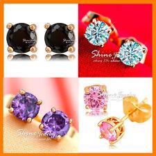 9K GOLD GF ROUND 1CT DIAMOND RUBY Amethyst SIMULATED DIAMOND SOLID STUD EARRINGS