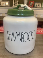 "RAE DUNN - SHAMROCKS - Large Canister w/ Green Lid St Patrick's - 7.5"" H x 6"" D"