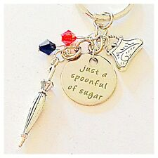 Mary Poppins-Inspired Silver Keychain Just a Spoonful of Sugar Gift of Joy