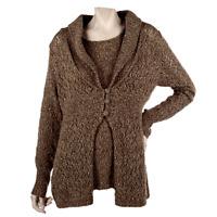 Modern Soul 3 Button Shawl Collar Cardigan and Tank Sz 2X Plus QVC Knit Sweater