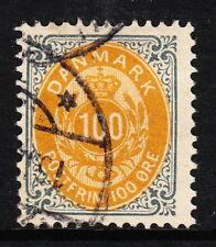 Denmark — Scott 52a — 1877 100o Gray & Orange W/Inverted Frame— Used —Scv $37.50