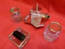 EDWARDIAN DESK SET TRIO,SOLID SILVER & CUT GLASS INKWELL,STAMP WETTER & GLUE POT