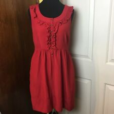Maeve Anthropologie Womens Red Musings Sleeveless Dress w/ Pockets - Size S