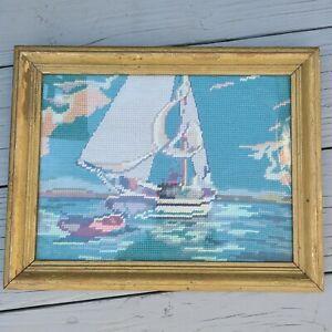 Vintage antq 1928 Framed Sailboat Needlepoint 12 x 9 nautical rare sailing
