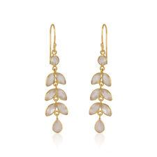 Handmade Rose Quartz Gemstone Gold Plated 925 Silver Leaf Designer Earrings