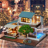 DIY Doll house Toy Wooden Miniature Furniture LED Light Gift Xmas Birthday Kids