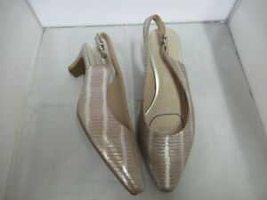 LADIES ROSE GOLD-SILVER STRIPES LEATHER 'SUPERSOFT' SLINGBACKS-SIZE 8.5C -AS NEW