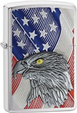 Zippo Choice Eagle Emblem American Flag WindProof Lighter Brushed Chrome 29508