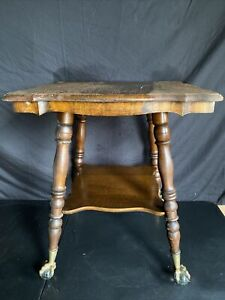 Antique Oak Large Claw And Glass Ball Footed Table