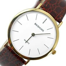 GENTS CLASSIC BUSINESS WHITE DIAL DESIGN BROWN BAND GOLD STAINLESS STEEL WATCH
