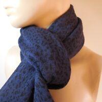 Echarpe noir bleu indigo accessoire mode vintage art déco femme homme N6979