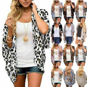 Women Tops Comfy Floral Chiffon Loose Blouse Casual Kimono Shawl Cardigan Shirt