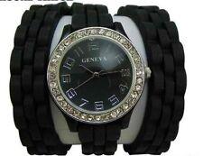 Damen Mädchen Silikon Strass Wrap Wickel 3x Armbanduhr Armband Uhr schwarz NEU