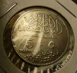 1920 H EGYPT 5 PIASTRES RARE COIN