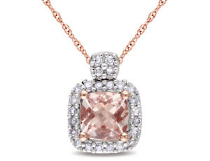 Morganite and Diamond Pendant Necklace 7/10 Carat (ctw) in 10K Rose Gold w/chain