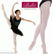 2 Pair Girls Ballet Convertable Tights by Silky Theatrical Pink Age 11-13