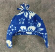Infant Toddler Unisex Fleece Hat Cap / Blue Hawaiian Print / Neck Strap Pompom
