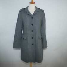 Worthington Womens M Wool Coat Gray Long Trench  Button Front
