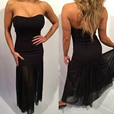 Connie's Black Tube dress Stretch with See thru mesh lower  S/M
