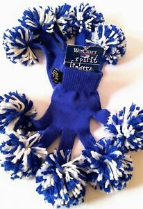 Gloves with Pom Pom Fingers, Spirit Fingerz, Win Craft, Blue Color.