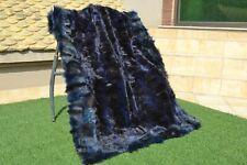 "Genuine Real Blue FOX FUR Black silver Pelz Blanket Throw quilt 53""x43"" rug 3759"