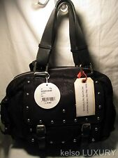 $1995 NEW CHLOE Black Large Suede Studs Tote Satchel Shoulder Bag Handbag Purse