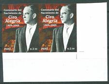 PERU  2009 CIRO ALEGRIA Pair Imperforate Mint NH VF