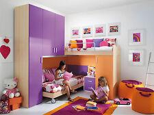 Cameretta Bambino/Bambina Mod. Bianca Ponte Soppalco Bambi 24