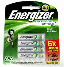 4x Energizer Rechargeable AAA NiMH 800 mAh Recharge Extreme Battery NEW FreeShip