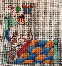 Dede Hand Painted Needlepoint Canvas L Initial Letter Girl Sleeping Dream Bear