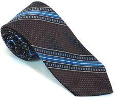 "Princepe Mens Tie All Polyester 3"" 56"" Skinny Stripes Dots Chocolate Azure White"