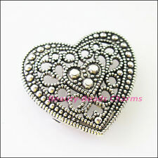 3Pcs Tibetan Silver 2-2 Hole Heart Spacer Bar Beads Connectors Charms 23x25mm